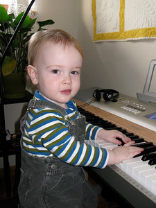 Charlie, the budding pianist