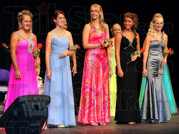 Finalists: The five finalists for Vigo County Fair Queen were Kelsi Creasey the second runner-up, Kit Gambill the first runner-up, Chelsey Norton, Kelsey Lindsay who was named queen and Anna Soliday.