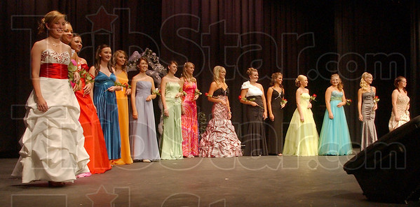Vigos best: The 15 Vigo County Fair Queen contestants line up at the end of the evening wear competition.