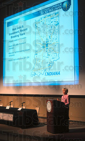 Tribune-Star/Joseph C. Garza<br /> A good state to be in: Lt. Governor Becky Skillman shares information about new jobs and investments in the state during her address for the Advancing Women in Business seminar Thursday at Ivy Tech.