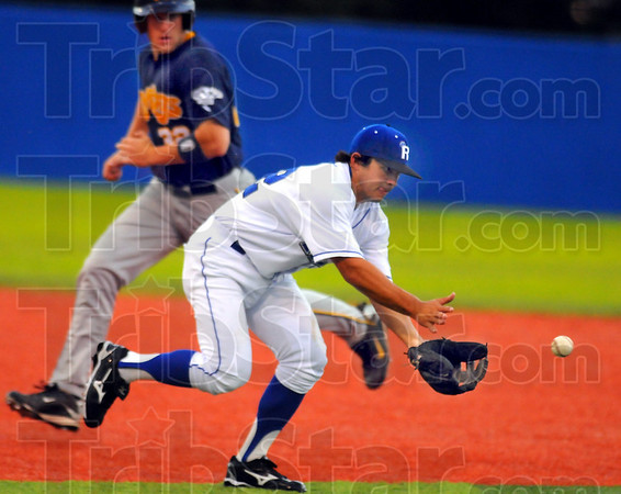 Fitting right in: New Rex infielder Joel Licon fields a groundball while River Rat base runner Ryan Skellie make his way to third.