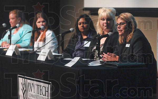 Tribune-Star/Joseph C. Garza<br /> No. 5: Hold yourself accountable: 5/3 Bank Retail Product Specialist Molly Barrett, far right, shares five pointers for women in business during the Advancing Women Business seminar Thursday at Ivy Tech Community College.