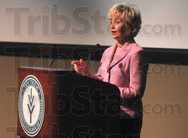 Tribune-Star/Joseph C. Garza<br /> A great state to start a business in: Lt. Governor Becky Skillman offers the benefits of starting a business in the state of Indiana during her address Thursday at the Advancing Women in Business seminar at Ivy Tech.