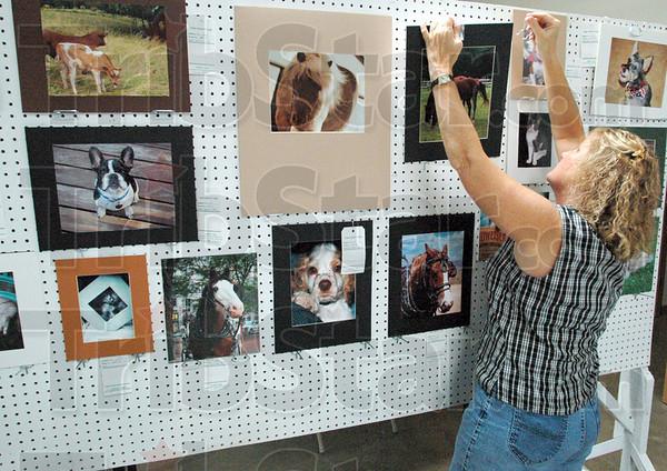 Tribune-Star file photo/Bob Poynter<br /> Photo exhibit: Lisa Wilson prepares the open photo exhibit for judging Saturday, July 11, 2009 at the Vigo County Fairgrounds.