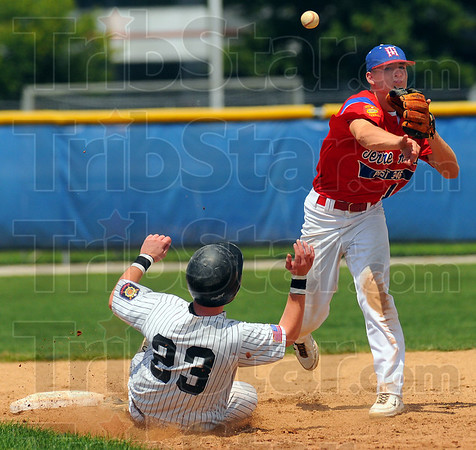 Turn two: Post 346 secondbaseman Tyler Wampler throws to first to complete a double play. Kokomo baserunner Devin Schacht slides late into second.