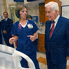Smart beds: Union Hospital Joely Lemke, director of the Intensive Care Unit, talks with Senator Richard Lugar about the capabilities of the hospital beds.