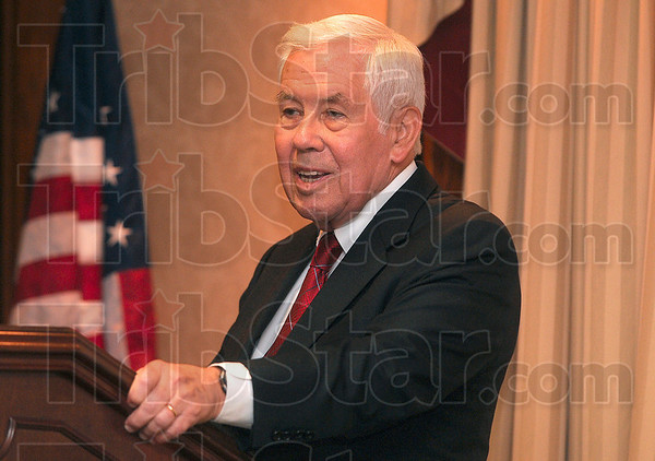 Tribune-Star/Joseph C. Garza<br /> Not for national health care: Sen. Richard Lugar gives his opinion on national health care during his speech to the Terre Haute Chamber of Commerce Friday at the Holiday Inn.