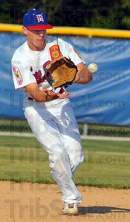 Sure hands: Post 346 2nd baseman Tyler Wampler gloves the ball for a throw to first an an out.