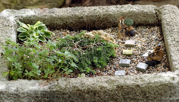 Whimsy: Miniature plants coupled with small figures can be found around Kalorama Gardens. This scene is about 20 inches long