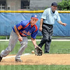 Hot grounder: Post 346 third baseman Michael Eberle fields a hard hit ball during early inning action against Kokomo Post 6 Saturday morning.