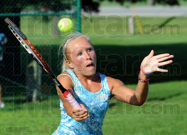 Taylor maid: Taylor Bullock hits a shot during her match with Sarah Potter during the 40th Old National Bank USTA event at Rea Park Saturday morning.