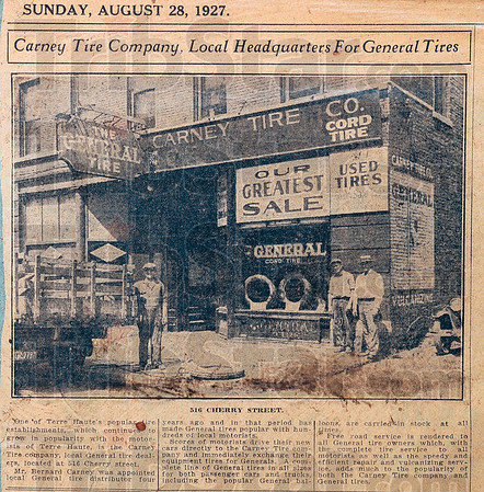 Tribune-Star/Joseph C. Garza<br /> They made the papers: An article from the Sunday, Aug. 28, 1927 Terre Haute Tribune features Carney Tires when it was at 516 Cherry Street.