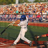 The crack of the bat: Kyle Burnam breaks his bat in action against the Dubois County Bombers Saturday evening in front of a big crowd at Bob Warn Field.