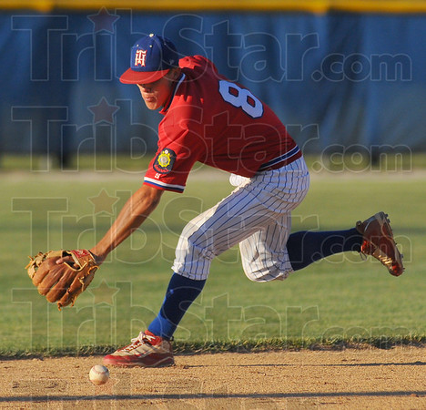 Covering ground: Post 346 shortstop Jacob Hayes stops a Greene County groundball.