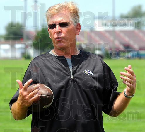 Back in town: Former Terre Haute South standout quarterback Cam Cameron is back in town, this time helping his old team with pointers he's learned in the college and professional ranks.