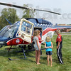 Air Evac: Flight Nurse Lori Mayle (R) talks with a small group about the the helicopter during Regional Hospital's Block Party Tuesday afternoon.