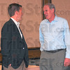 """Meeting: Terre Haute businessman Paul Thrift talks with U.S. Senate candidate Dan Coats just before Coats' """"Hoosier Voices"""" meeting Wednesday afternoon."""