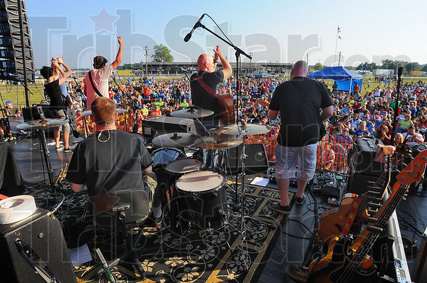 """Getting started: The Justin Hoeppner Band was the opening group at """"Elevate"""" a concert at the Martinsville Ag Fair Monday evening."""