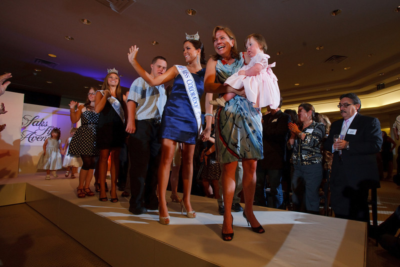 "(Denver, Colorado, July 27, 2010)<br /> Alison and Kate Winfield at the front of the runway line, with Melaina Shipwash, Miss Colorado 2010, behind them.  The ""Be Beautiful Be Yourself Jet Set Fashion Show 2010 Saks Fifth Avenue Kickoff Party,"" benefiting the Linda Crnic Institute for Down Syndrome, supported by the Global Down Syndrome Foundation, at Saks Fifth Avenue Cherry Creek in Denver, Colorado, on Tuesday, July 27, 2010.<br /> STEVE PETERSON"