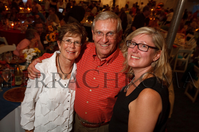 """(Cherry Hills Village, Colorado, July 30, 2010)<br /> Mary and George Sissel, celebrating George's birthday, with Gretchen McComb.  """"Sunset in the Country,"""" benefiting the Anchor Center for Blind Children, at the home of Mike and Peggy Shanahan in Cherry Hills Village, Colorado, on Friday, July 30, 2010.<br /> STEVE PETERSON"""