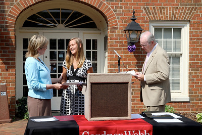 Freeman Scholarship recipients gather in front of the Chamber building in Shelby to be recognized and receive their awards.