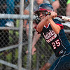 Tribune-Star/Joseph C. Garza<br /> She can hit, too: Terre Haute North's Bethany Sullivan watches the ball sail over the Jennings County infield during the Patriots' win Saturday, June 5 at Center Grove High School.