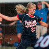 Tribune-Star/Joseph C. Garza<br /> She'll wind up a winner: Terre Haute North's Bethany Sullivan unleashes a pitch as her teammates prepare for a hit their way during the Patriots' win over Jennings County Saturday, June 5 at Center Grove High School.