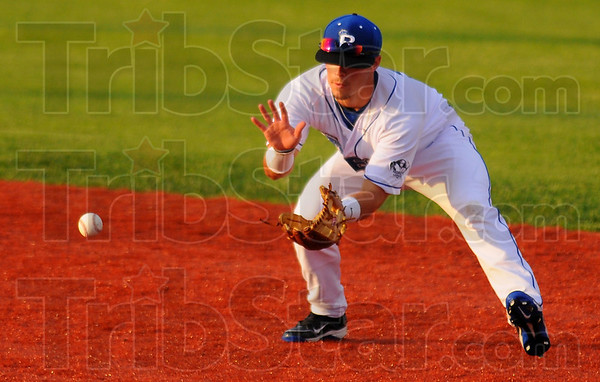 Right at home: Rex second baseman Koby Kraemer gloves a ground ball for an out against the Springfield Sliders.