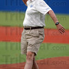 First pitch: The first first pitch was throw by ISU alulmnus Dave Campbell .