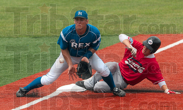 Tribune-Star/Joseph C. Garza<br /> Stop the score: Terre Haute Rex third baseman Alex Guthrie tries to control the throw to third base as a DeKalb opponent slides in during the teams' game Sunday at Bob Warn Field.