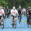 Escort: Local law enforcement officers ride escort for the Special Olympics Torch as it was delivered to Marks Field Friday morning.