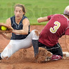 Safe: Lutheran's #3, Hailey Reed makes it into second base ahead of the tag of Riverton Park's #17, Sara Dickey during game action Saturday.