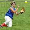 Got it: Linton-Stockton's #45, Joie Gadberry slides to meet a hard-hit ball to centerfield for the out during game action Saturday.