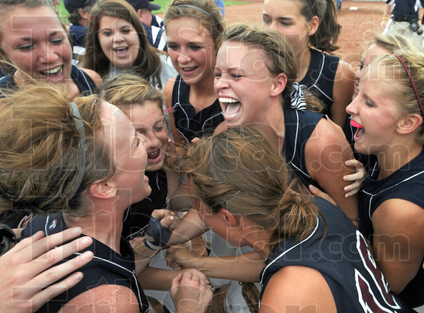 Celebration: Riverton Parke players celebrate on the field after winning the Class A State Softball Championship at Ben Davis High School in Indianapolis.