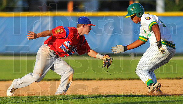 Too slow: Post 346 secondbaseman Tyler Wampler tags Pate base runner Landon Langley out in second inning action at Terre Haute North Saturday evening.