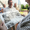 No decision: Merv Hendricks looks at a copy of the Daily Clintonian prior to touring the Ernie Pyle State Memorial in Dana Friday evening.