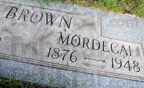 Tombstone: Mordecai Brown tombstone located at Roselawn Cemetery.
