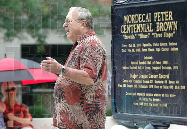 Historian: Mike McCormick talks about the life and times of Mordecai Brown at the dedication of a plaque honoring the former big league baseball player.