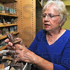 Of mice and women: Diane Mann holds one of the test mice she has made to test different glazes and firing techniques.