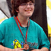 Medalist: Sarah Pemberton is all smiles after recieving her medal in the softball throw.