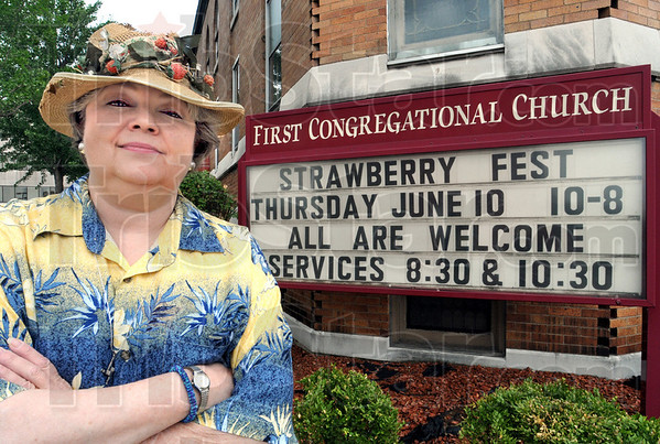 Strawberry fest: Rev. Dawn Carlson will take over the reins of the annual Strawberry Fest from Rev. Don Mullins as crews prepare the tents and seating Wednesday afternoon.