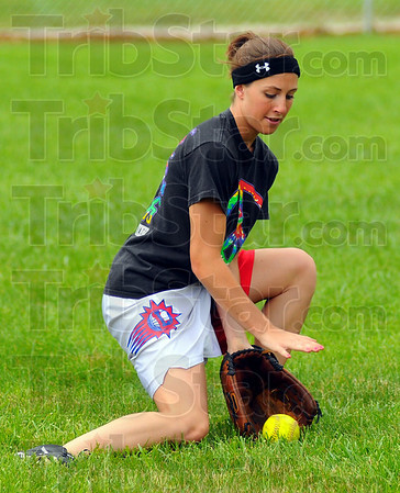 Sure hands: Linton's Courtney Barnes fileds a ground ball during practie Wednesaday afternoon.