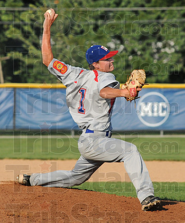 Rock and fire: Post #346 pitcher J.R. Patterson fires a pitch to the plate during game action against St. Bernice Post 108 Wednesday night.
