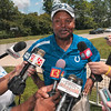 Tribune-Star file photo/Joseph C. Garza<br /> A new year, a new coach: Indianapolis Colts head coach Jim Caldwell talks about being compared to former coach, Tony Dungy, as he talks to reporters Sunday, Aug. 2, 2009 at Rose-Hulman.