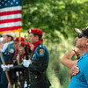 Tribune-Star/Joseph C. Garza<br /> From the heart: U.S. Army Lt. Col. (Ret.) Donald Spice stands at attention during the National Anthem Monday during a Memorial Day ceremony at Highland Lawn Cemetery.