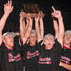 Tribune-Star/Joseph C. Garza<br /> Seven innings later: Terre Haute South baseball team members, Jacob Hayes, Zach Duggins, John Sackett and Brandon Brock erupt with a victory scream after the Braves defeated Terre Haute North in the Sectional 13 championship game Monday at North.