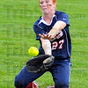 Solid defense: Patriot right fielder Alisha Ludwig snares a flyball for an out against Hamilton Southeastern in the 4A state championship game Monday evening. The game was postponed until 5:00 p.m. tonight due to weather.