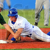 Shoulda stayed: Rex baserunner Alex Guthrie is tagged out at second base trying to stretch his hit into a double. Placing the tag is Danville's Miles Silverstein.