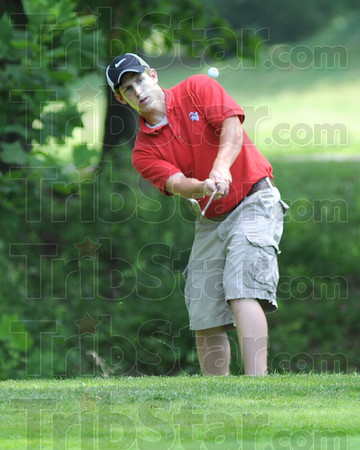 Chip shot: Owen Valley's Woody Worland hits a shot during sectional play against Northview's Drew Snyder and South's Thomas Goss.