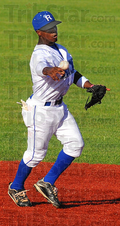In time: Rex second baseman Derick Daniel throws to first in time for an out in their game against Richmond Saturday evening.